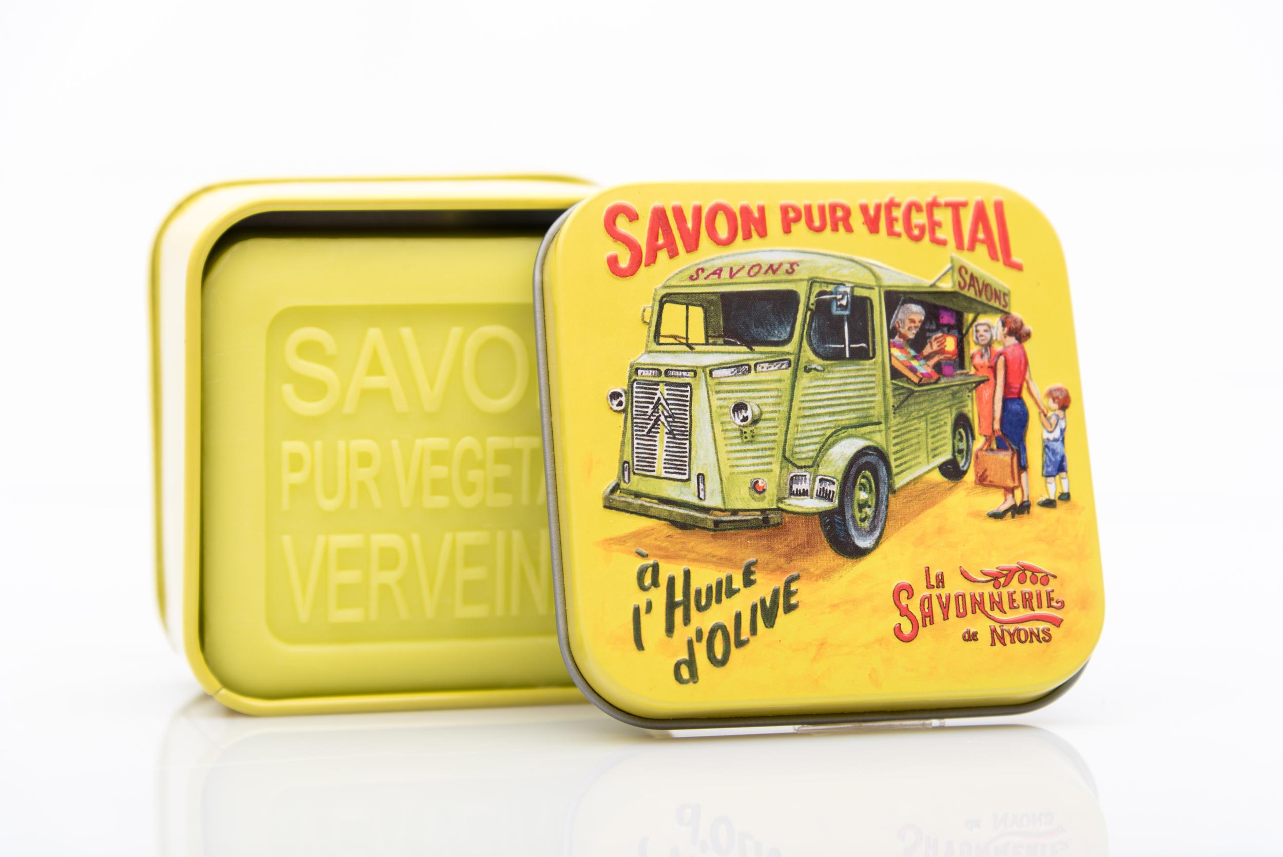 SAVON DE NYONS VEGETAL MADE IN FRANCE AVEC BOITE METALIQUE MODELE 43 A LA VERVEINE