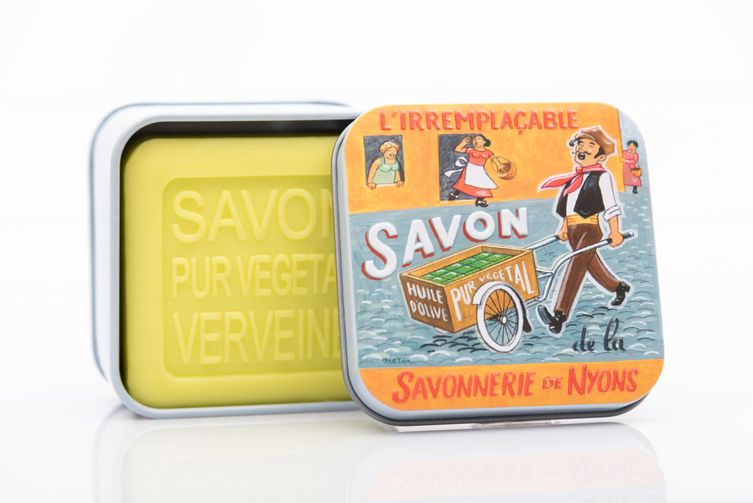 SAVON DE NYONS VEGETAL MADE IN FRANCE AVEC BOITE METALIQUE MODELE 42 A LA VERVEINE