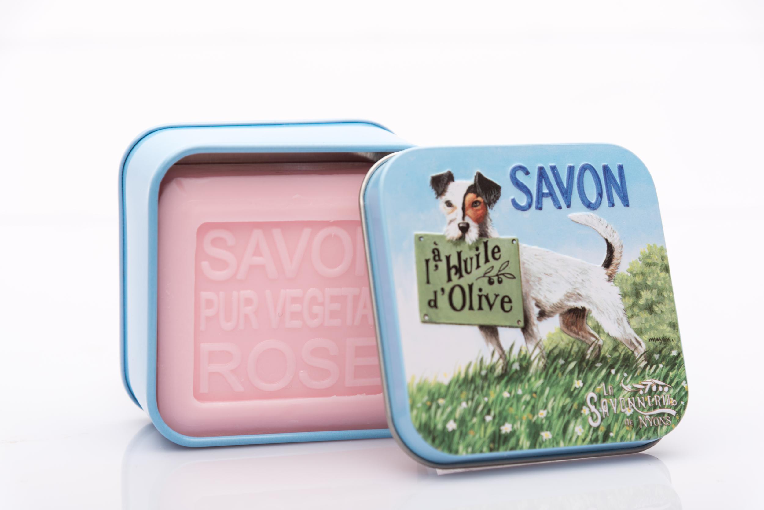 SAVON DE NYONS VEGETAL MADE IN FRANCE AVEC BOITE METALIQUE MODELE 6 A LA ROSE