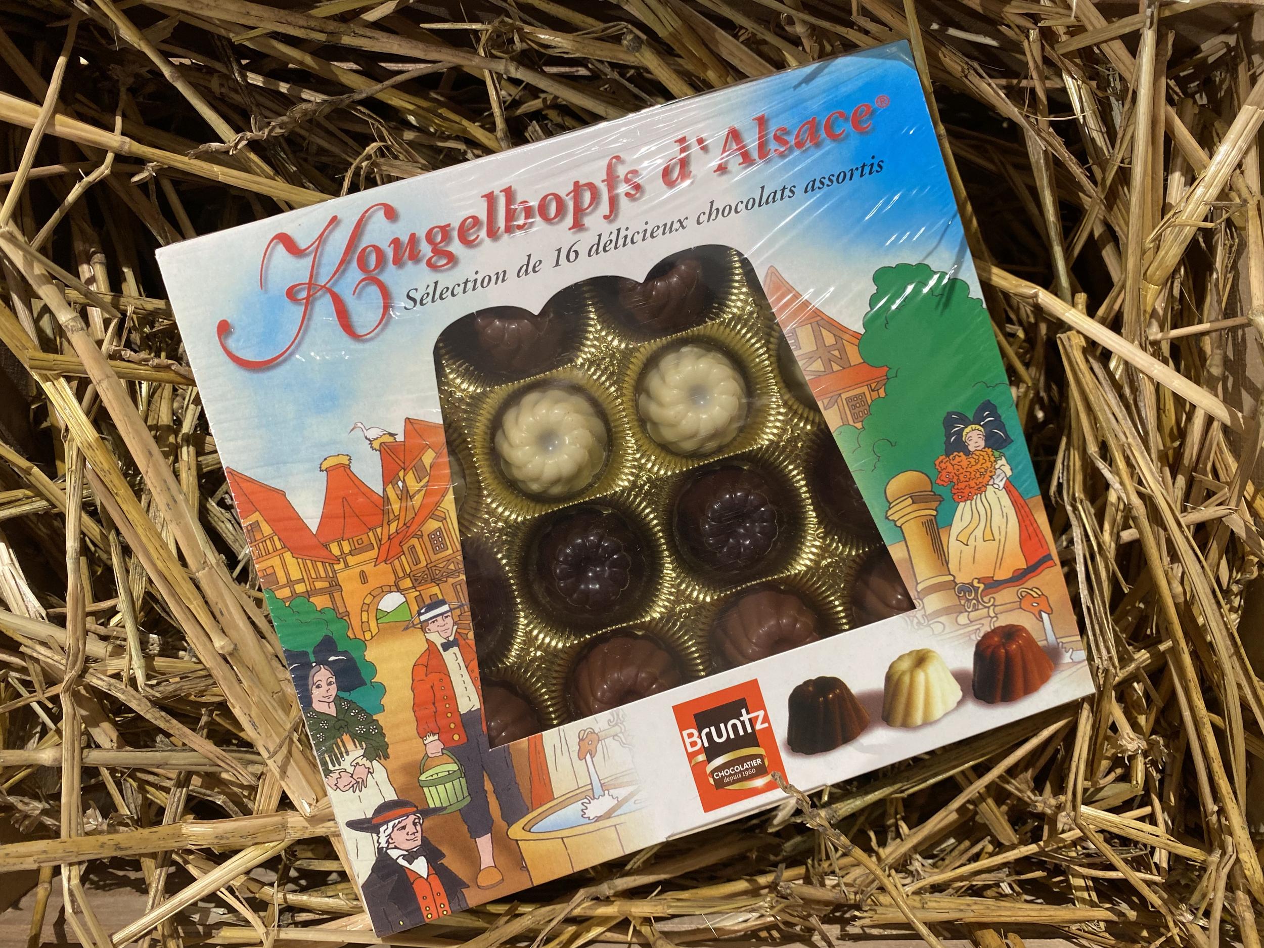BOITE 16 KOUGELHOPF CHOCOLATS FOURRES ASSORTIS 160G