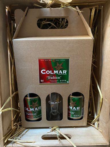COFFRET 2 BIERES 33CL COLMAR TRADITION + 1 VERRE COLMAR