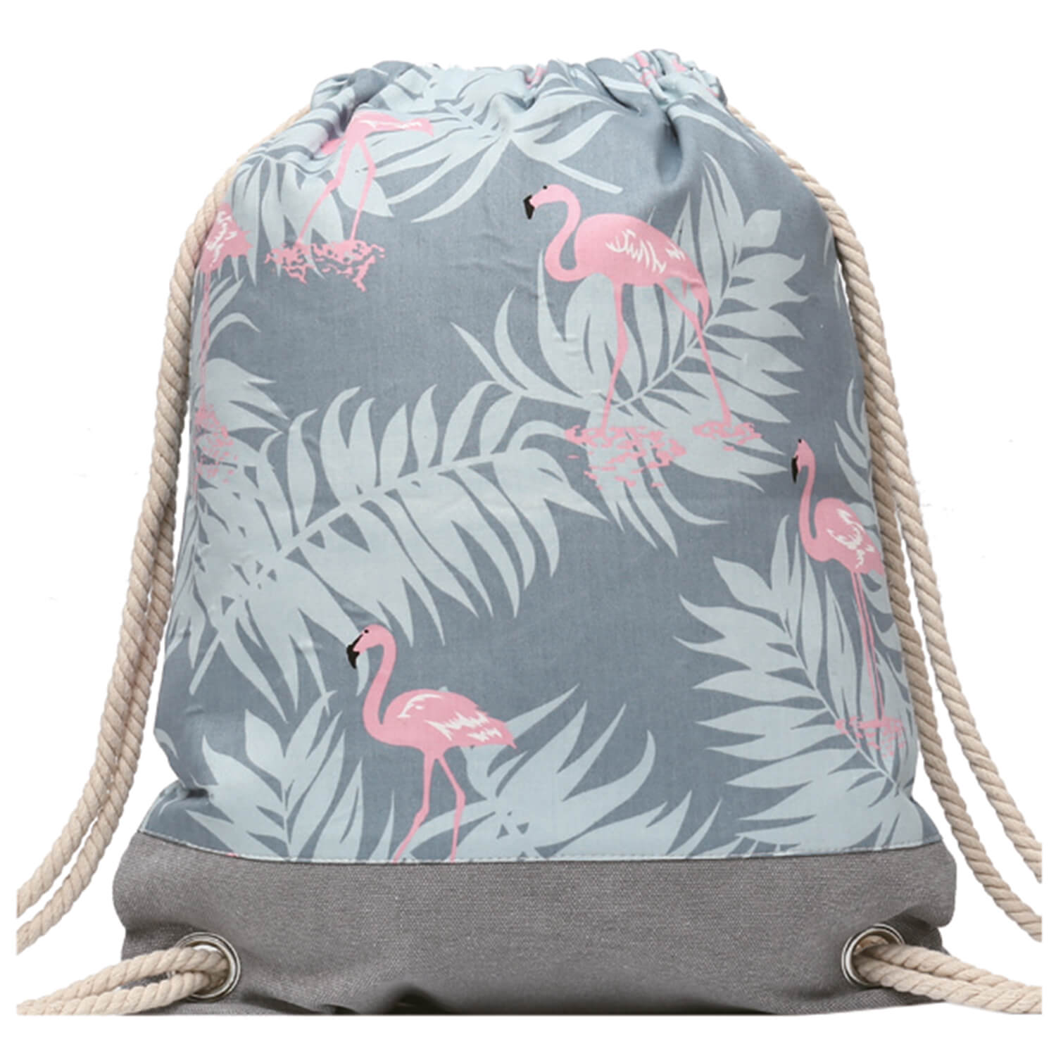 GYMBAG IMPERMEABLE 100% COTON CANVAS PURE NATURE FLAMANTS ROSES TROPICAL