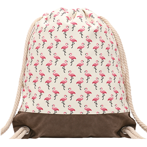 GYMBAG IMPERMEABLE 100% COTON CANVAS PURE NATURE BLANC PETITS FLAMANTS ROSES