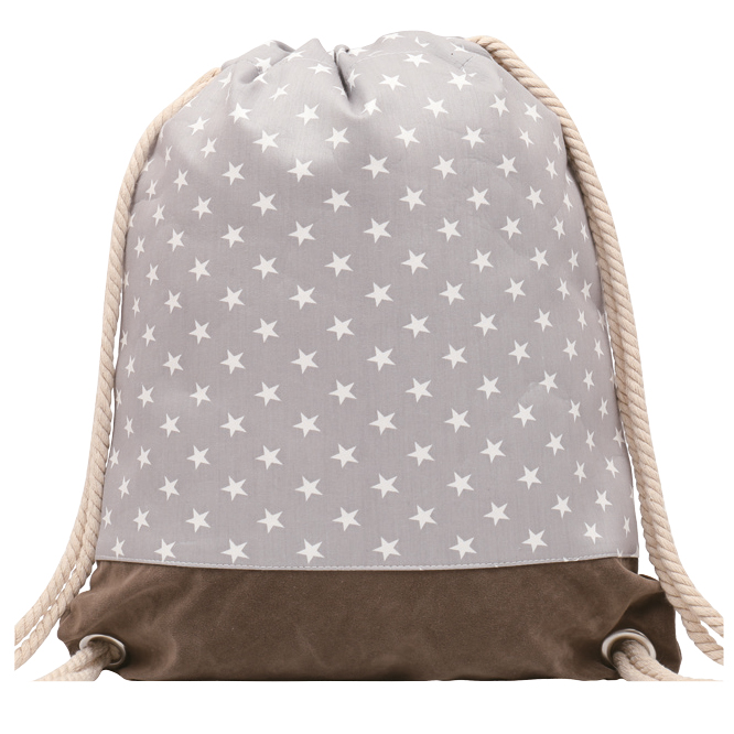 GYMBAG IMPERMEABLE 100% COTON CANVAS PURE NATURE GRIS ETOILES STARS
