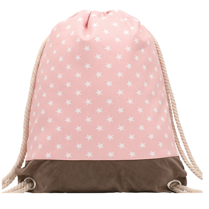GYMBAG IMPERMEABLE 100% COTON CANVAS PURE NATURE ROSE ETOILES STARS