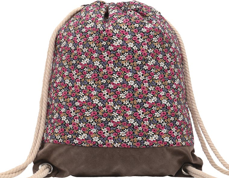 GYMBAG IMPERMEABLE 100% COTON CANVAS PURE NATURE FLEURS MULTICOLORES