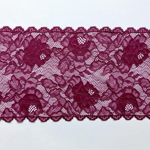 Dentelle galon bordeaux motif roses avec feuilles