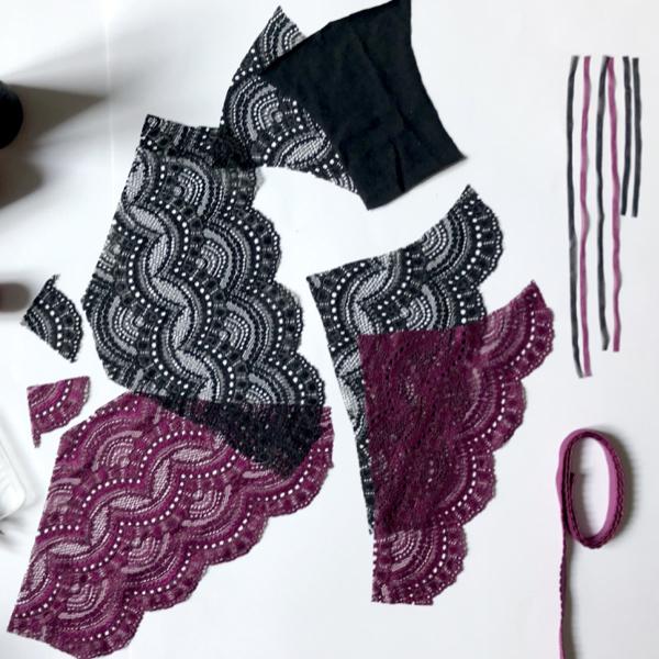 Kit culotte en dentelle Mic-Mac noir et prune