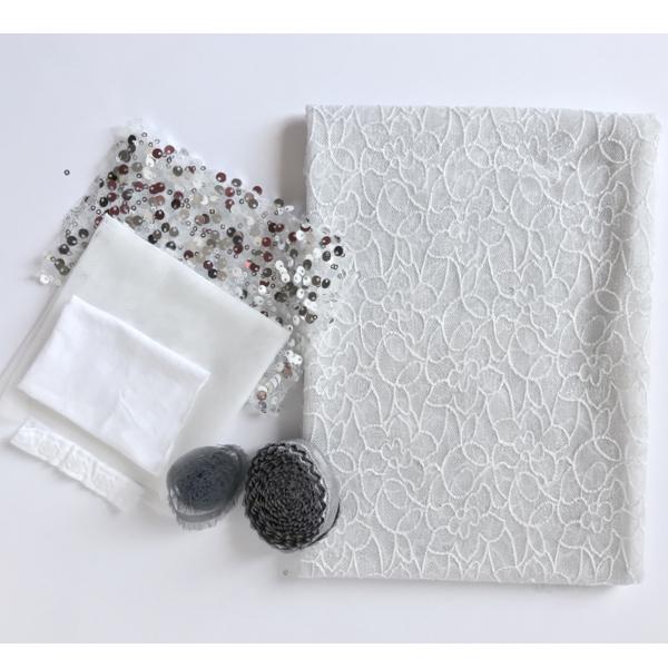 Kit couture body dentelle grande largeur Moon blanc et argent