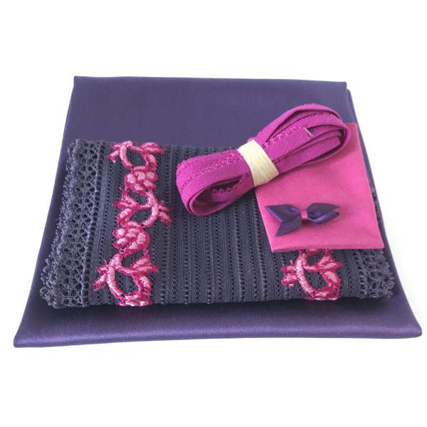 Kit lingerie violet et fuchsia satin de soie