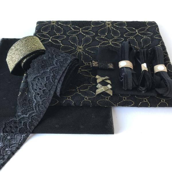Kit lingerie noir et lurex doré