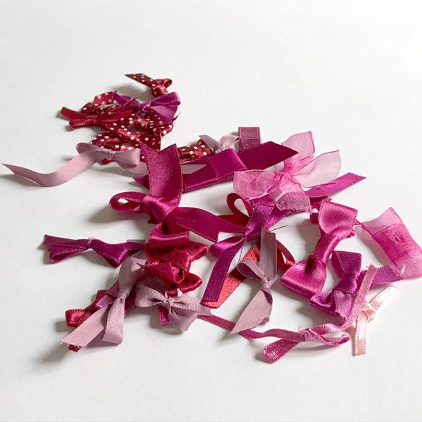 Assortiment noeuds en camaïeu glamour rose et rouge