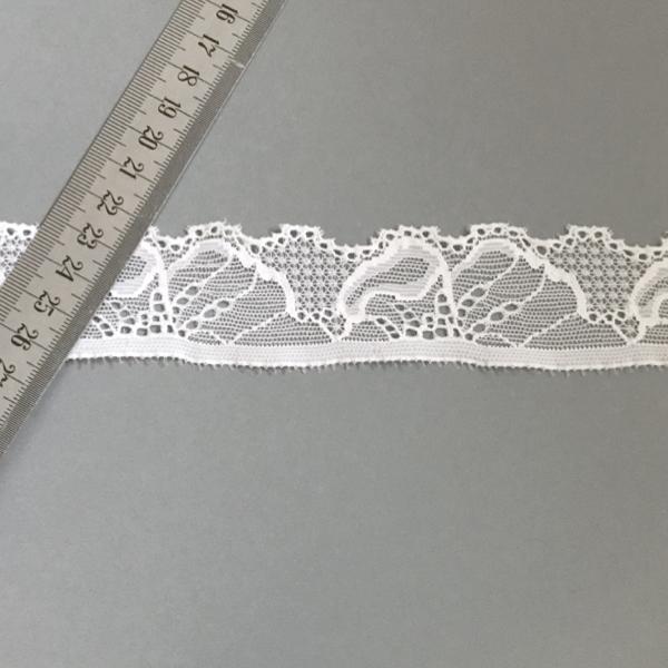 Bordure dentelle élastique blanc