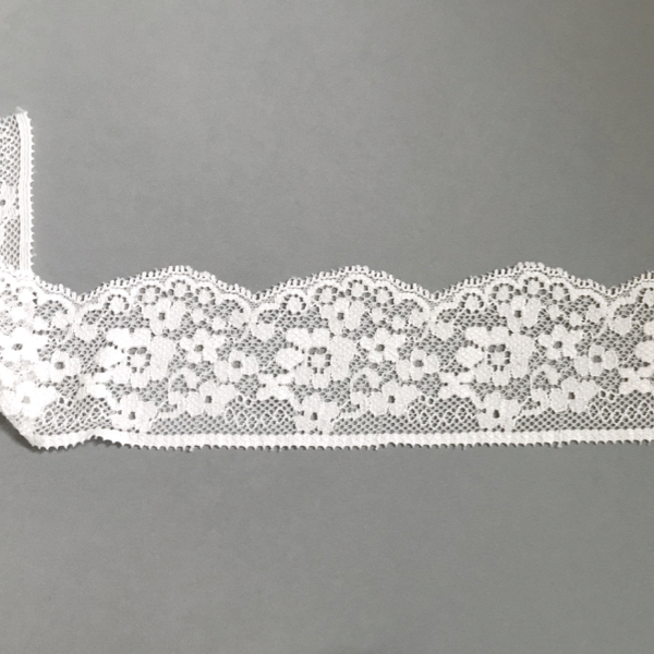 Bordure dentelle élastique motif floral