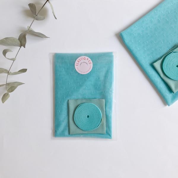 Kit slip POMPOM (slip froufrous) en plumetis turquoise