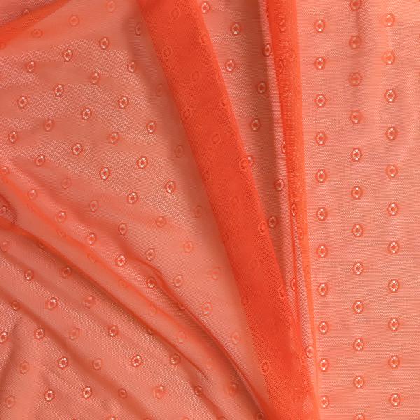 Tulle fantaisie avec cercles orange