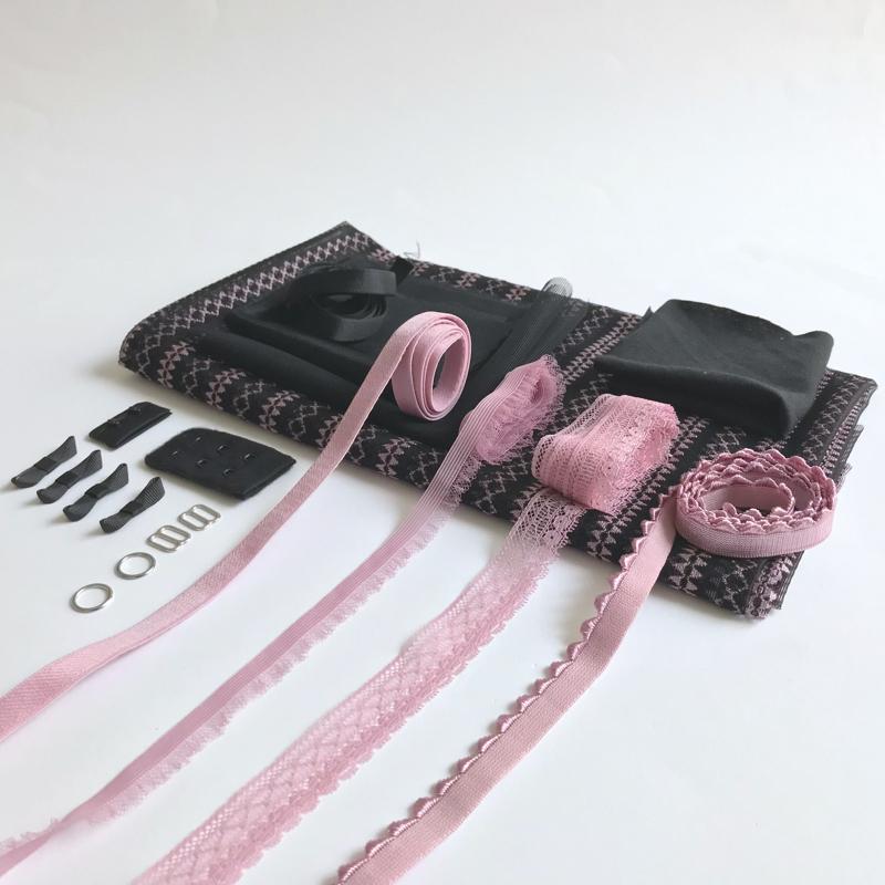 Kit lingerie soutien-gorge et culotte mauve et noir