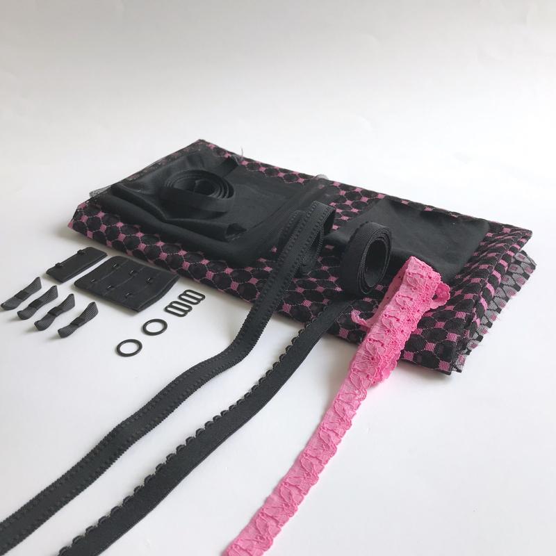 Kit lingerie soutien-gorge et culotte rose et noir