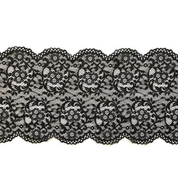 Dentelle en galon noir motif floral et arabesque