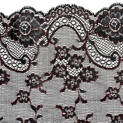 Dentelle galon bi color noir et rouge sombre motif fleurs