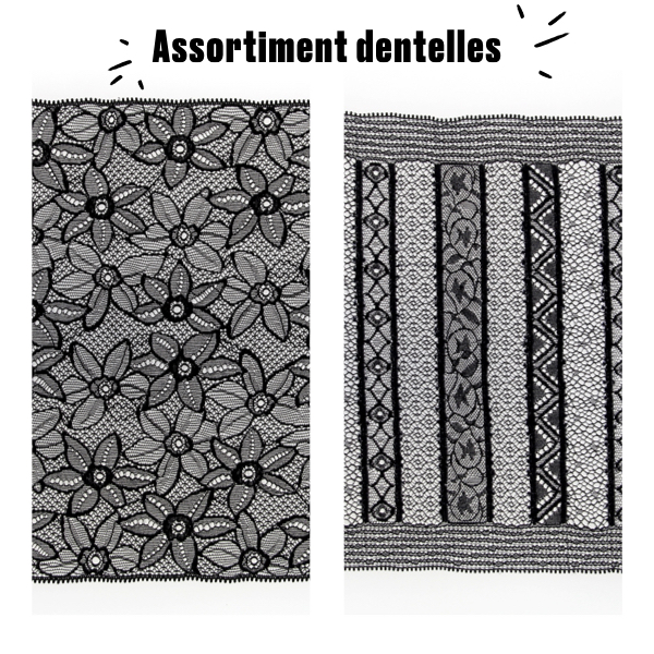 Assortiment de dentelles en galon noir
