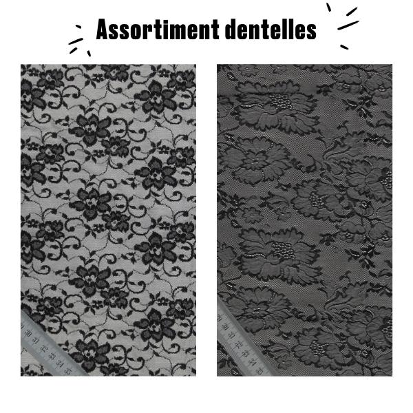 Assortiment dentelle grande largeur coloris noir