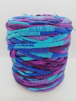 Trapilho coton bleu violet effiloché