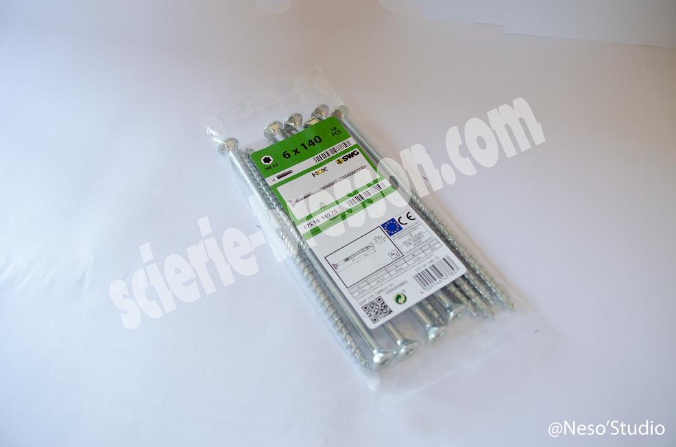 VIS HOX - 6 X 140 H30 - BOITE DE 10