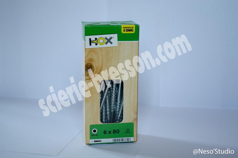VIS HOX - 6 X 80 H30 - BOITE DE 20