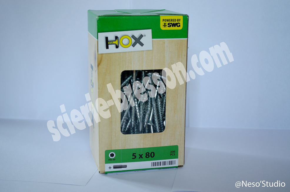 VIS HOX - 5 X 80 H20 - BOITE DE 200