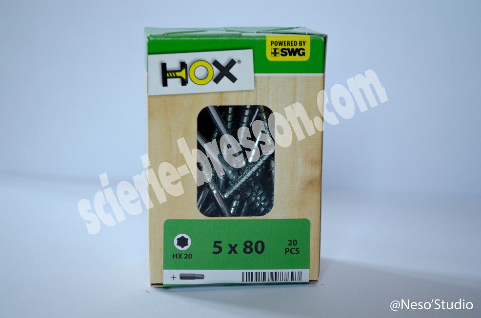 VIS HOX - 5 X 80 H20 - BOITE DE 20
