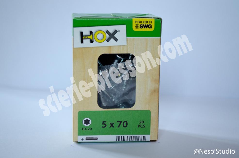 VIS HOX - 5 X 70 H20 - BOITE DE 20
