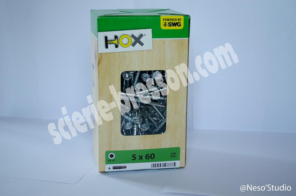 VIS HOX - 5 X 60 H20 - BOITE DE 250