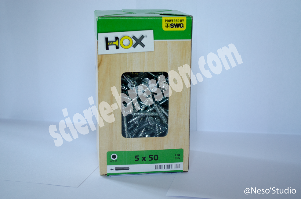 VIS HOX - 5 X 50 H20 - BOITE DE 250