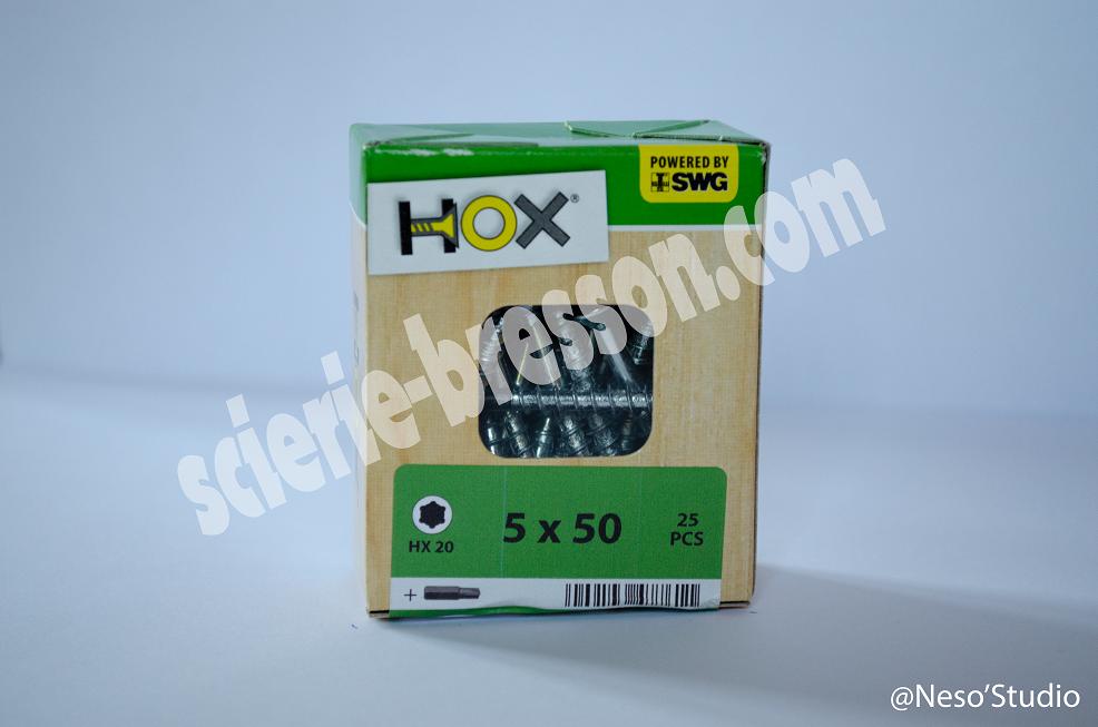 VIS HOX - 5 X 50 H20 - BOITE DE 25