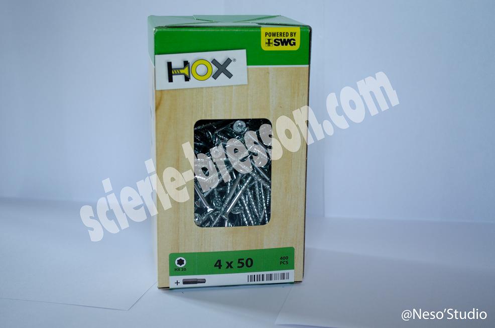 VIS HOX - 4 X 50 H20 - BOITE DE 400