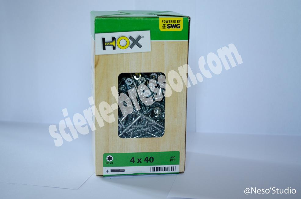 VIS HOX - 4 X 40 H20 - BOITE DE 500