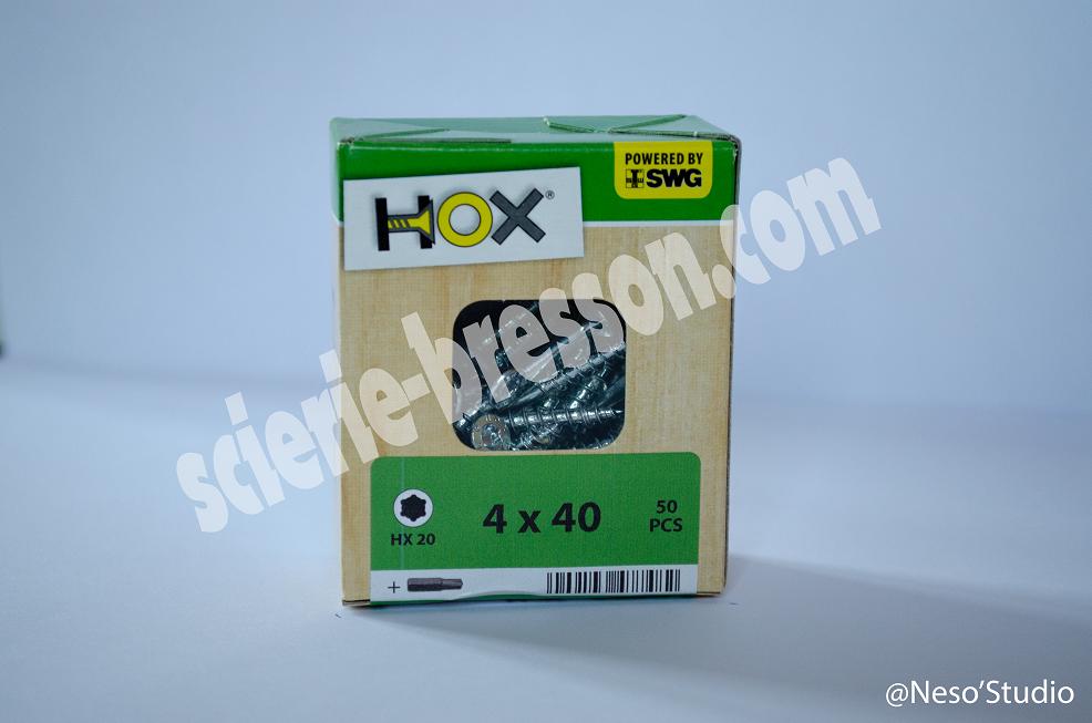 VIS HOX - 4 X 40 H20 - BOITE DE 50