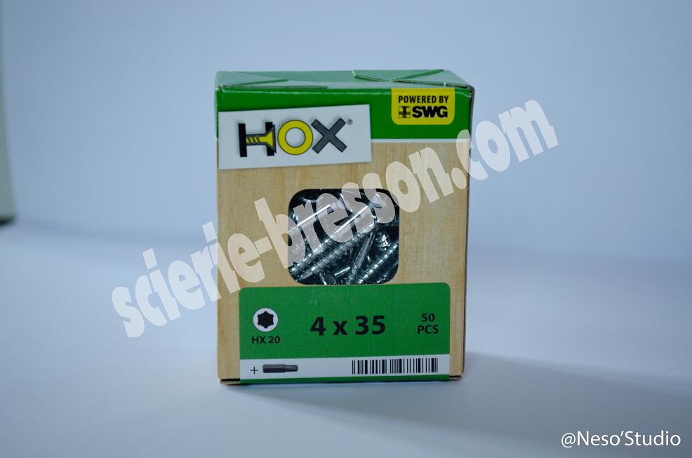 VIS HOX - 4 X 35 H20 - BOITE DE 50