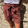 short en toile rouille avec ceinture à nouer