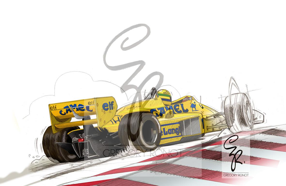VENTE-FLASH, Ayrton Senna, Lotus 99T 30x20