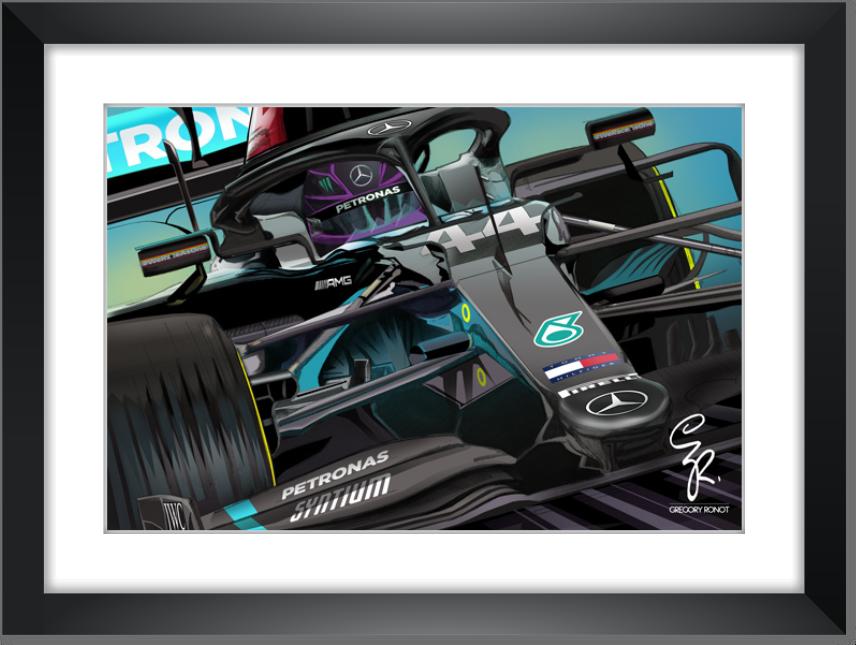 Lewis Hamilton, Mercedes AMG 2020, encadré