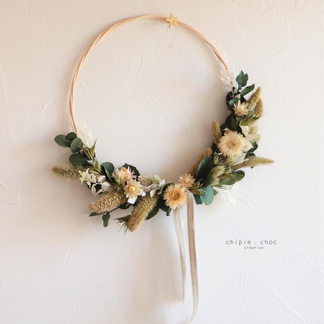 demi couronne de fleurs séchées verte et blanche - chipie choc création