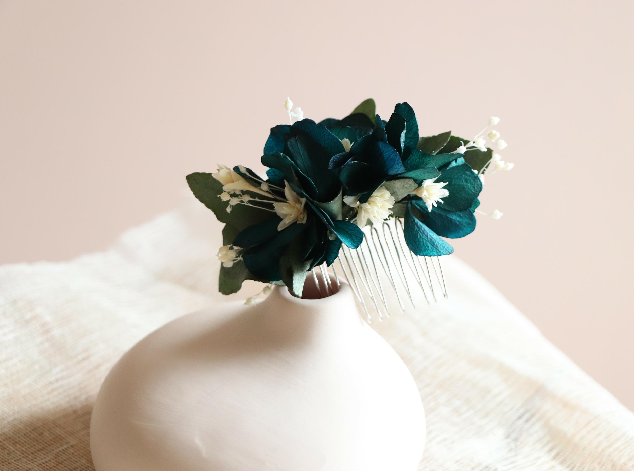 peigne fleurs bleues