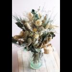 bouquet de fleurs séchées naturel vert et blanc