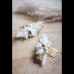 peigne fleurs séchées blanc