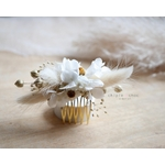 peine fleuri blanc et or