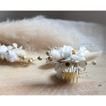 petit peigne fleurs blanc et or