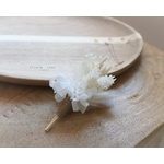 boutonnière fleurs séchées blanches