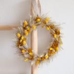 couronne de fleurs séchées jaune - chipie choc création